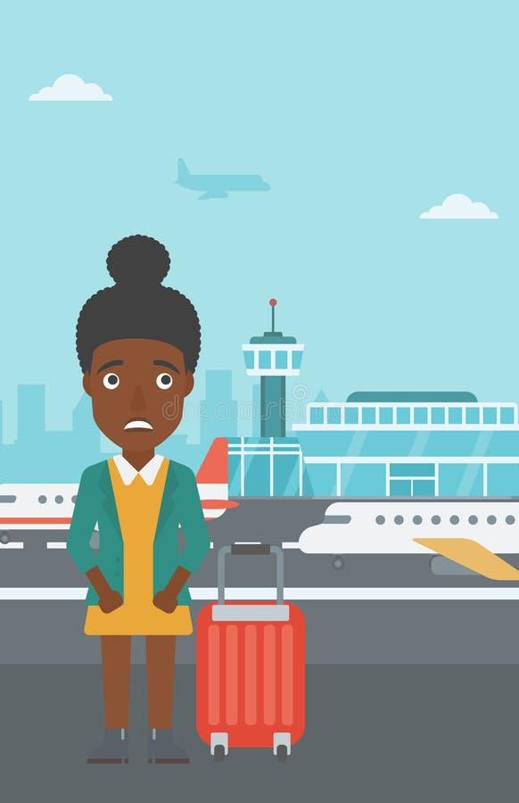 Женщина страдая от страха летания бесплатная иллюстрация