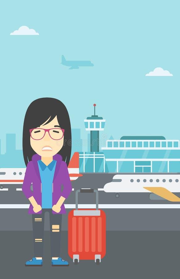 Женщина страдая от страха летания иллюстрация вектора