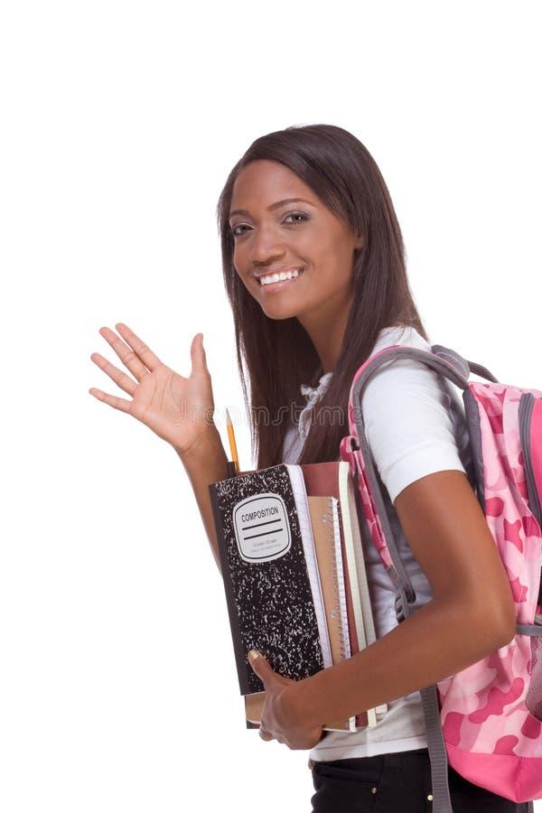женщина студента приветствию коллежа афроамериканца стоковые фотографии rf