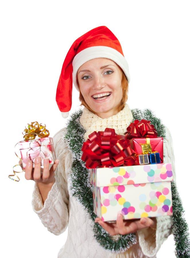 женщина счастливого шлема подарков рождества сь стоковое фото