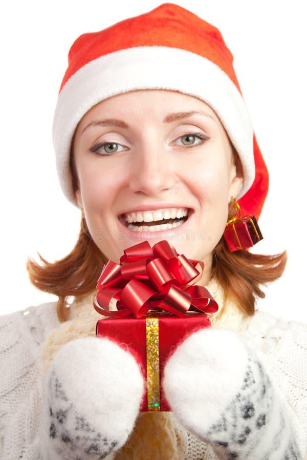 женщина счастливого шлема рождества сь стоковое фото