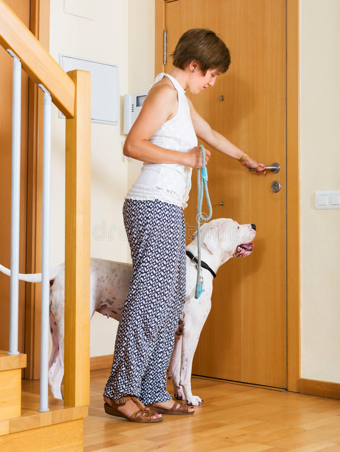 Женщина с белой большой собакой стоковые фотографии rf