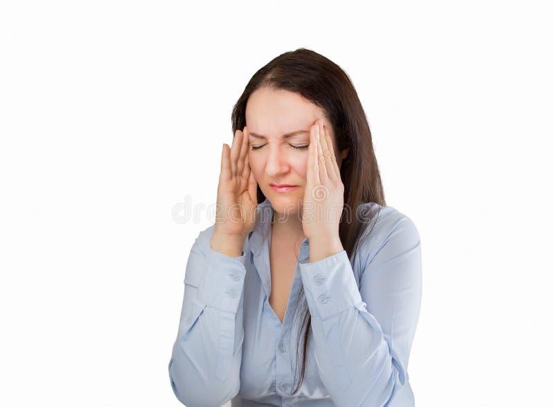 Женщина с большой головной болью стоковое фото rf