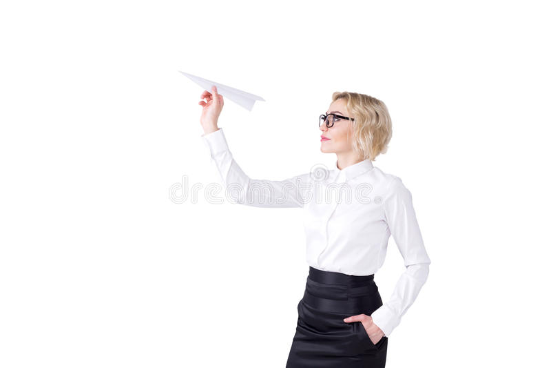 Женщина с бумажным самолетом стоковое изображение