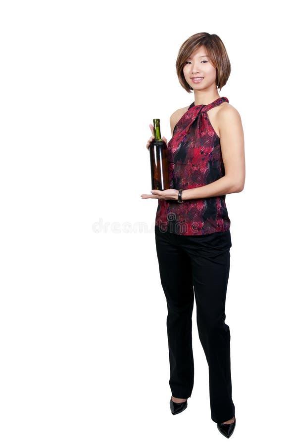 Женщина с вином стоковые фотографии rf