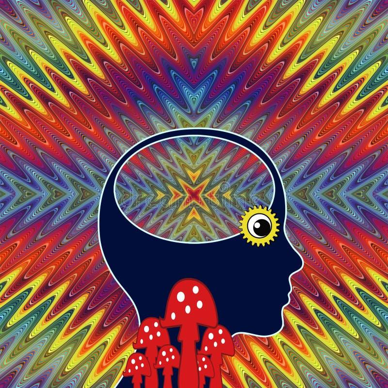 Женщина с вставка-ретроспекцией LSD бесплатная иллюстрация