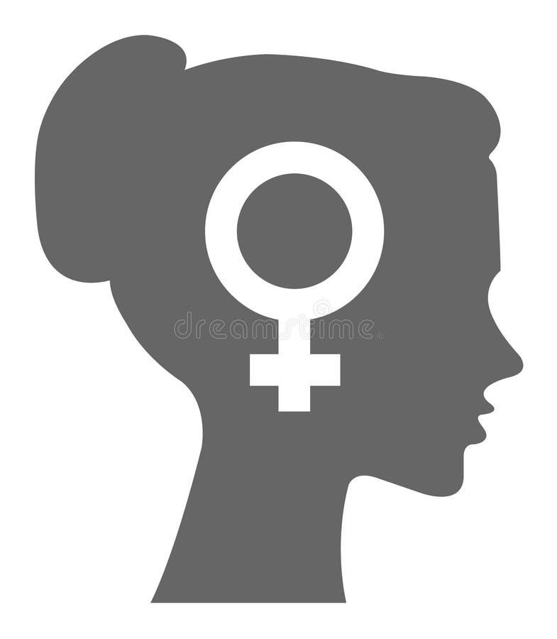 Женщина с говорить голов вектора знака Форма силуэта знака рода иллюстрация вектора