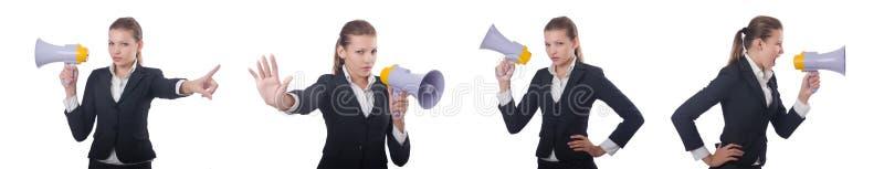 Женщина с громкоговорителем на белизне стоковое фото