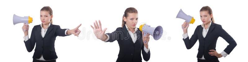 Женщина с громкоговорителем на белизне стоковое фото rf