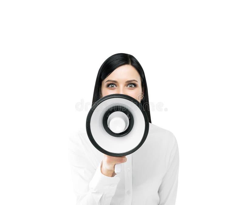 Женщина с громкоговорителем стоковая фотография rf