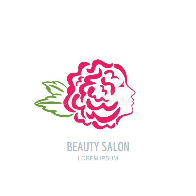 Женщина с лепестками розы в волосах Логотип красоты вектора флористический бесплатная иллюстрация