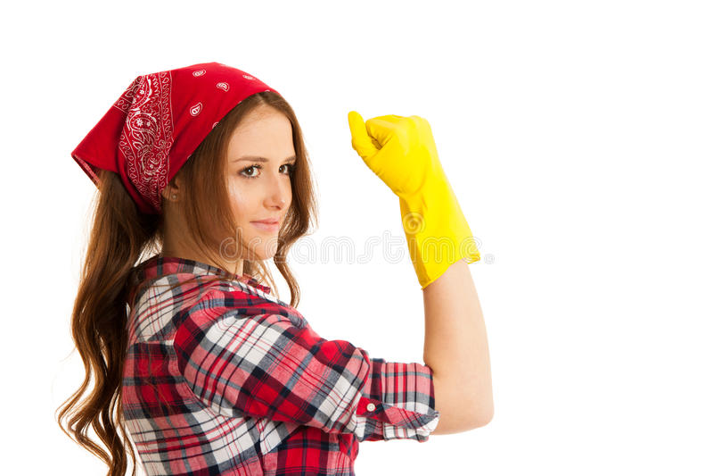 Женщина с желтыми резиновыми жестами перчаток мы можем сделать его изолировала стоковая фотография rf