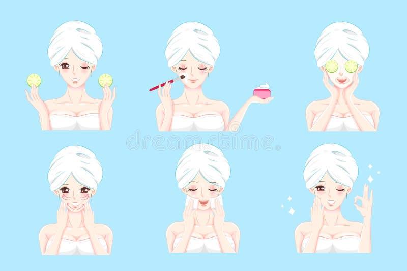 Женщина с заботой кожи иллюстрация штока