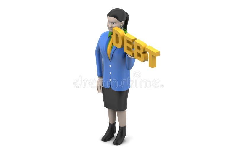 Женщина с задолженностью иллюстрация вектора