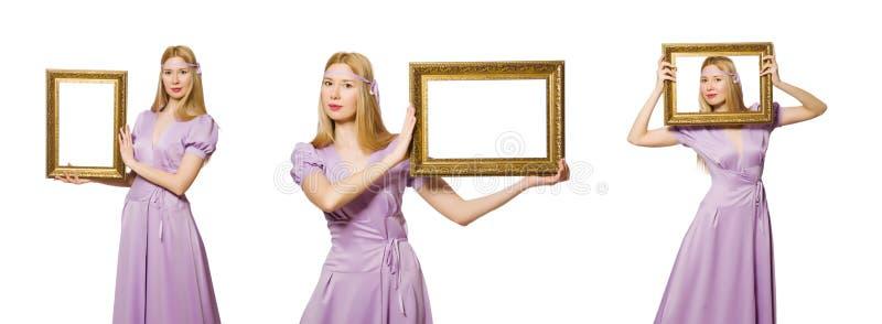 Женщина с картинной рамкой на белизне стоковое фото rf