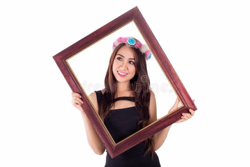 Download Женщина с картинной рамкой на белизне Стоковое Изображение - изображение насчитывающей boris, вскользь: 41655485