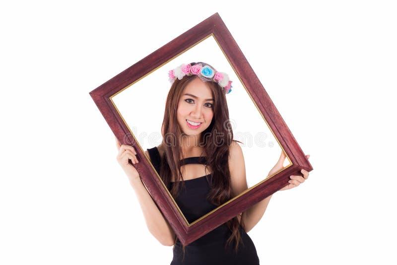 Download Женщина с картинной рамкой на белизне Стоковое Изображение - изображение насчитывающей сторона, красивейшее: 41655491