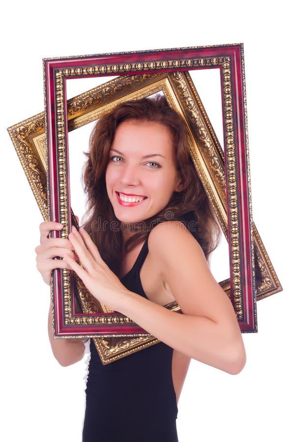 Женщина с картинной рамкой стоковое изображение rf