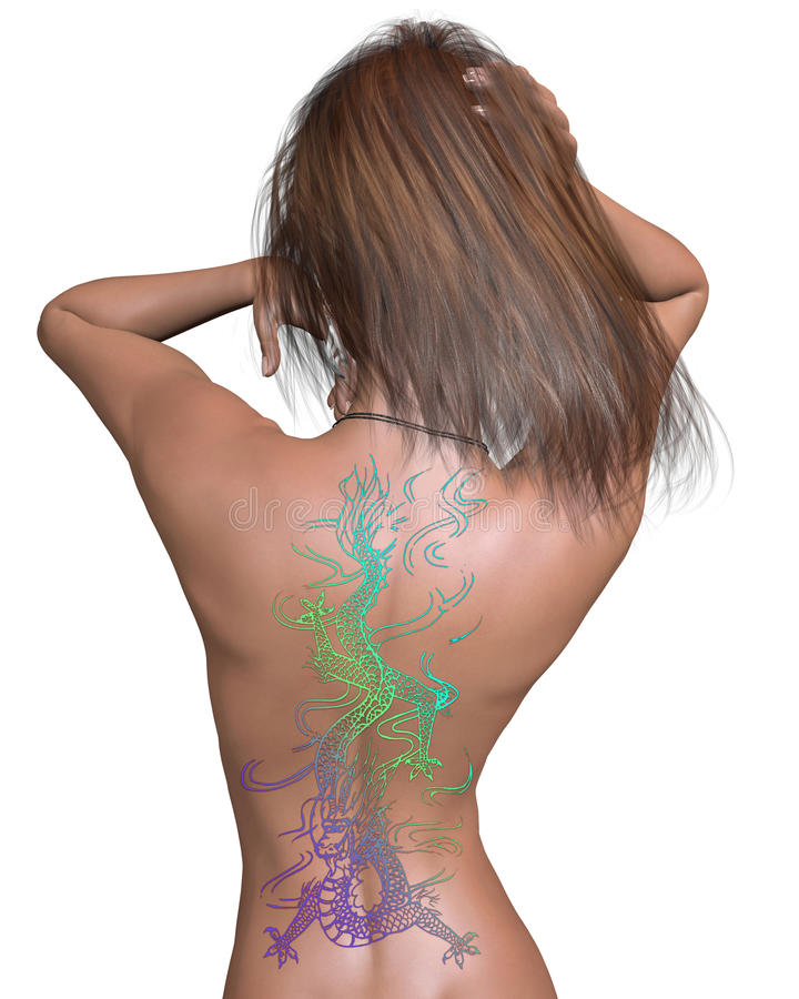Женщина с китайским Tattoo дракона бесплатная иллюстрация