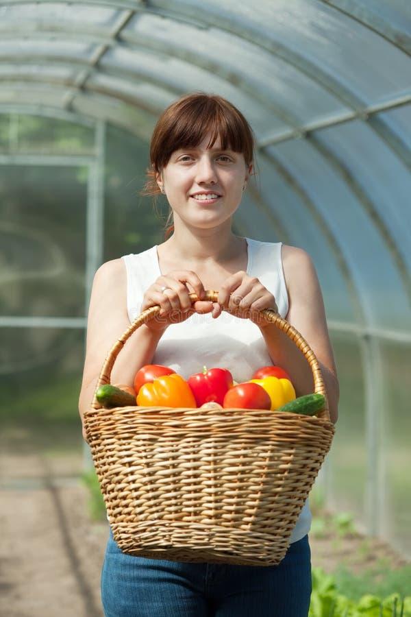Женщина с корзиной сжатых овощей стоковые фотографии rf