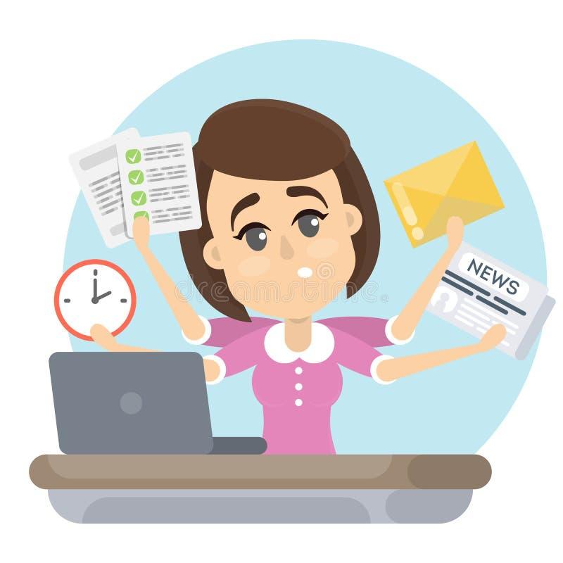 Женщина с крайним сроком иллюстрация вектора