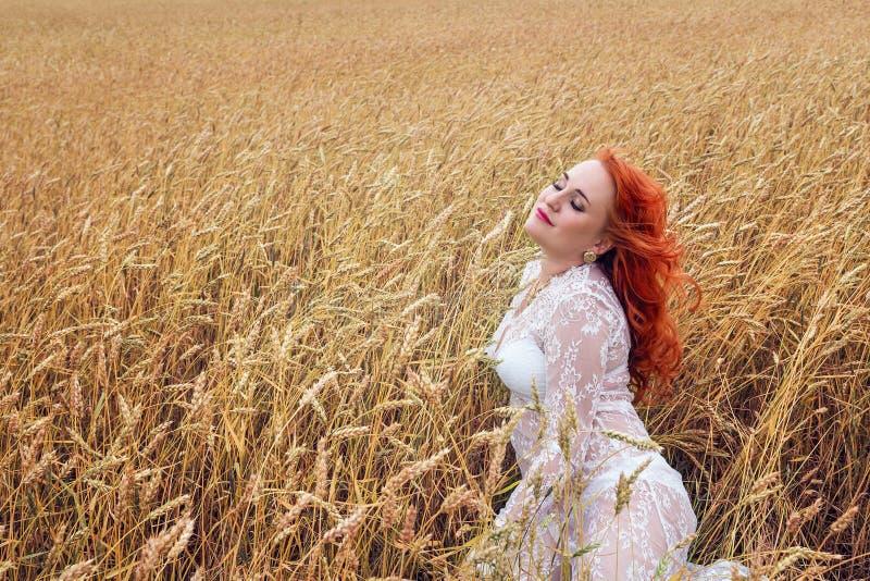 Женщина с красными волосами в пшеничном поле стоковые изображения