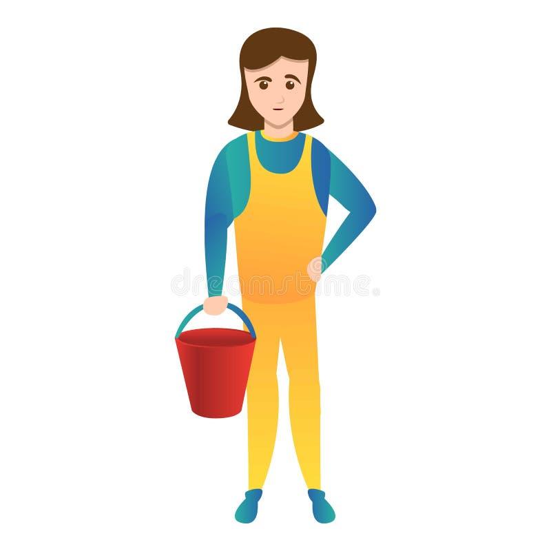 Женщина с красным значком ведра, стилем мультфильма бесплатная иллюстрация
