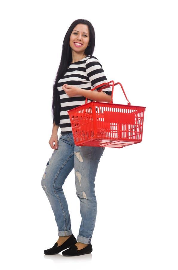 Женщина с магазинной тележкаой на белизне стоковая фотография rf