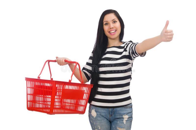 Женщина с магазинной тележкаой стоковые изображения rf