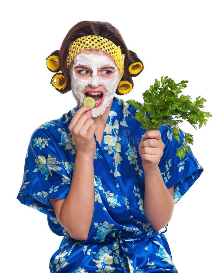 Download Женщина с маской стоковое изображение. изображение насчитывающей мило - 41657311