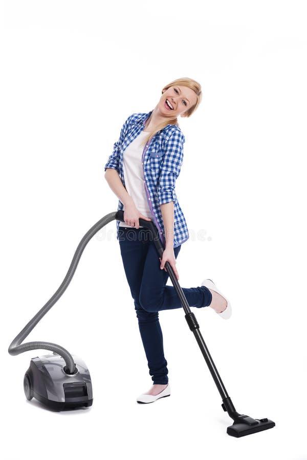 Женщина с машиной вакуума стоковые изображения