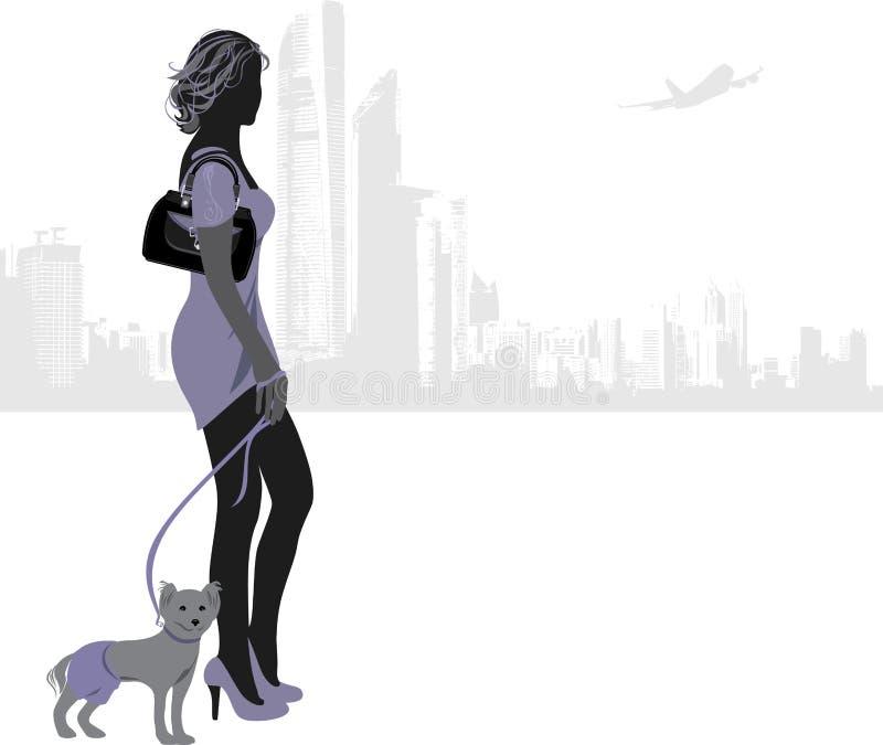 Download Женщина с маленькой собакой на предпосылке города Иллюстрация вектора - иллюстрации насчитывающей шик, собака: 37929777
