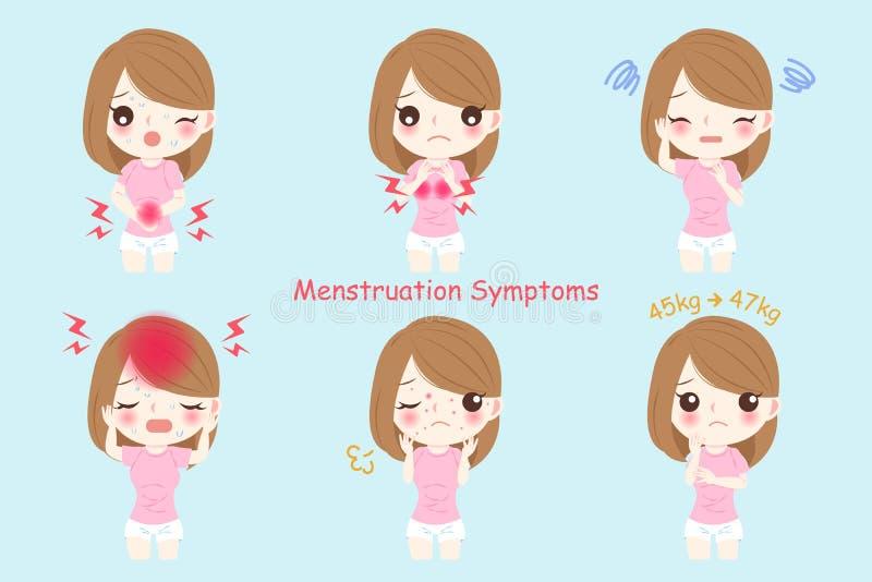 Женщина с менструацией иллюстрация штока