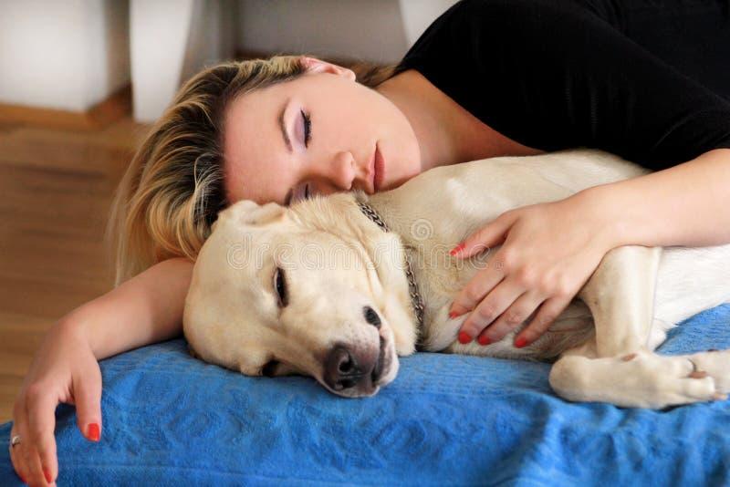 Женщина с милыми собаками дома Красивая девушка отдыхая и спать с ее собакой в кровати в спальне Предприниматель и собака спать в стоковое изображение