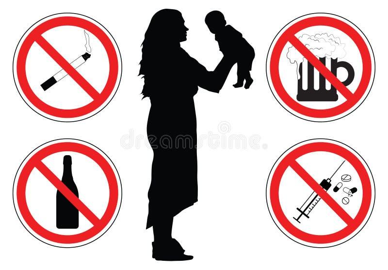 Женщина с младенцем, силуэтом, знаками лекарств, вектором запрета иллюстрация штока