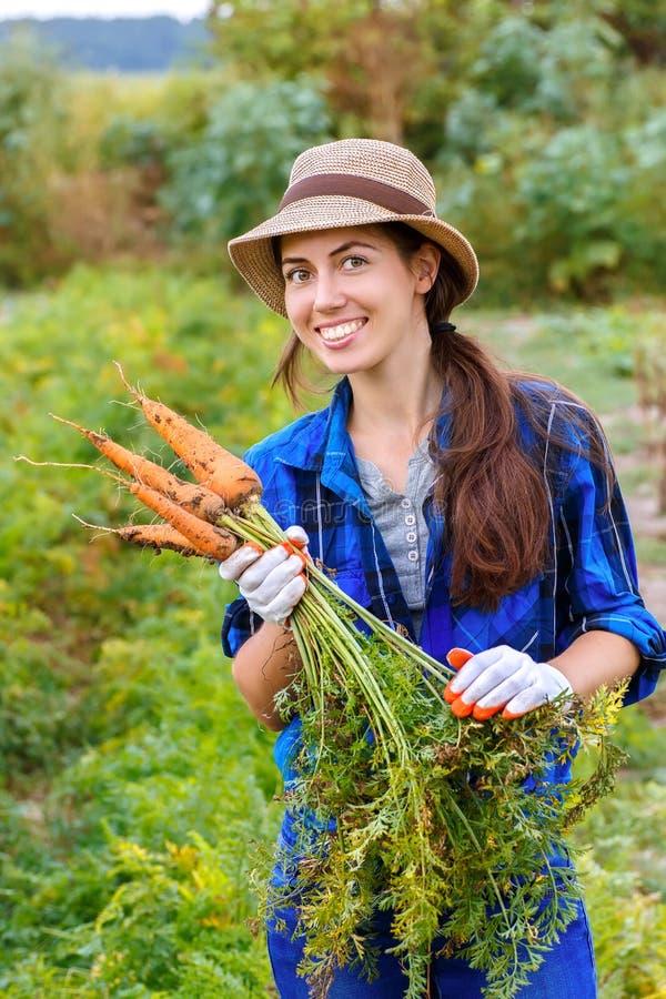 Женщина с морковами в огороде стоковая фотография