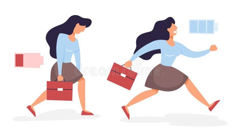 Женщина с низким уровнем и высоким уровнем энергии иллюстрация вектора