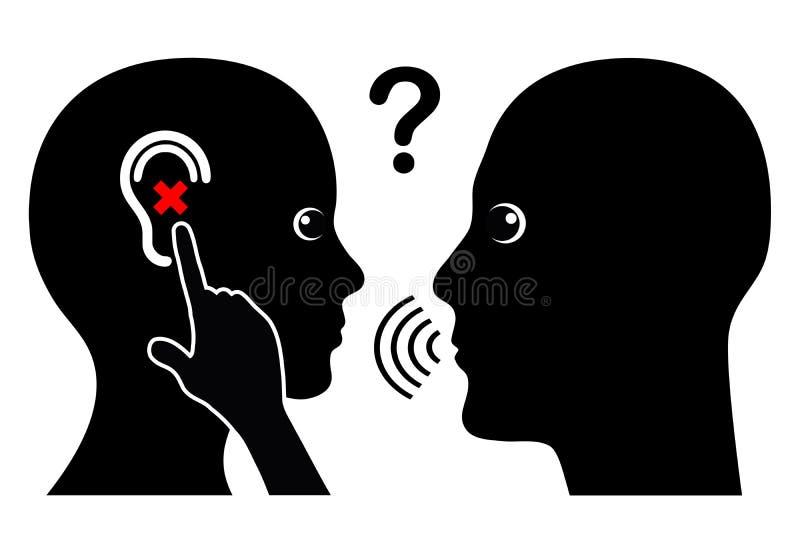 Женщина с потерей слуха иллюстрация штока