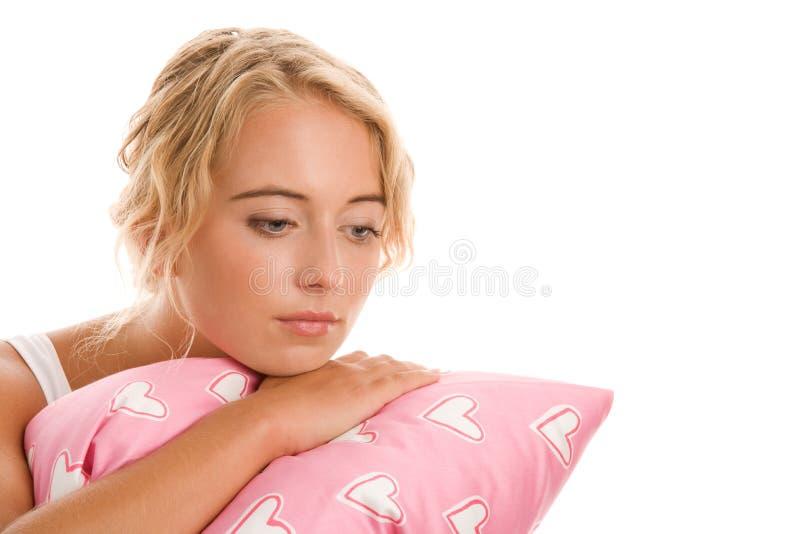 Женщина с подушкой стоковое фото rf