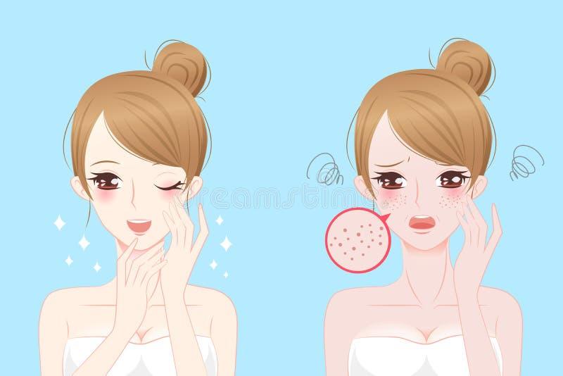 Женщина с проблемой skincare иллюстрация штока