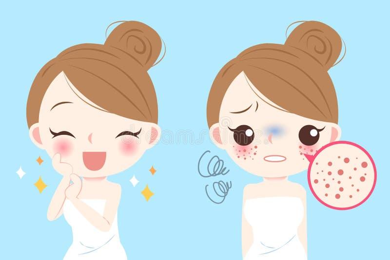 Женщина с проблемой skincare иллюстрация вектора