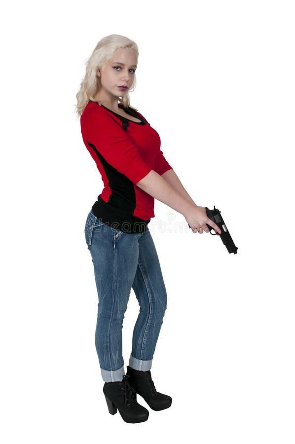 Женщина с пушкой стоковое изображение rf