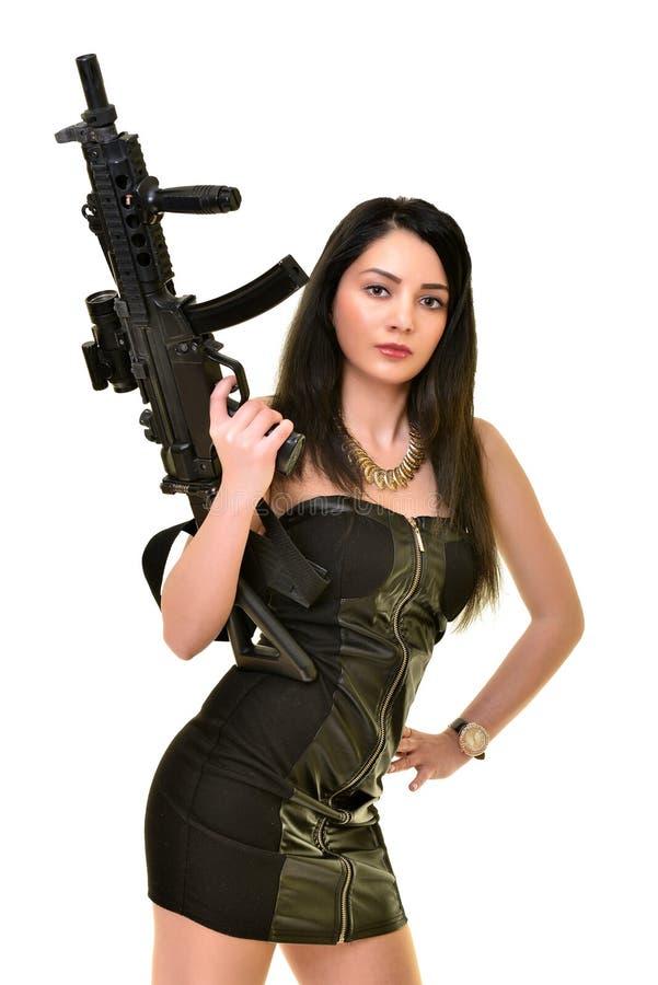 Женщина с пушкой стоковое фото