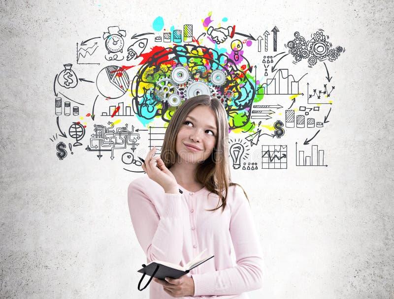 Женщина с плановиком, красочные cogs мозга стоковое фото