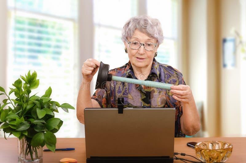 Женщина с плунжером перед компьтер-книжкой стоковые фотографии rf