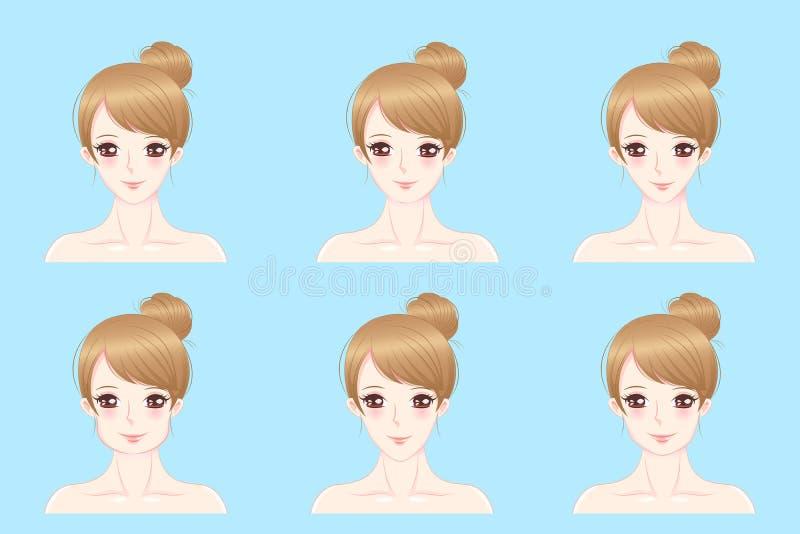 Женщина с различной стороной иллюстрация вектора