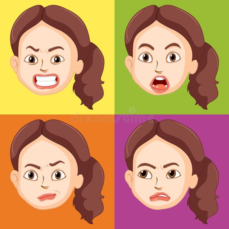 Женщина с различными эмоциями иллюстрация вектора