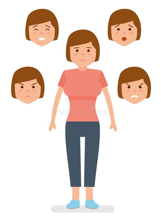 Женщина с различными выражениями лица Утеха, тоскливость, гнев, сюрприз, раздражение иллюстрация штока