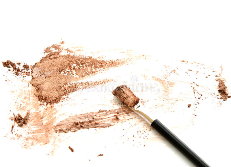 женщина с ручкой Золотая тень глаза цвета на белизне стоковое фото rf
