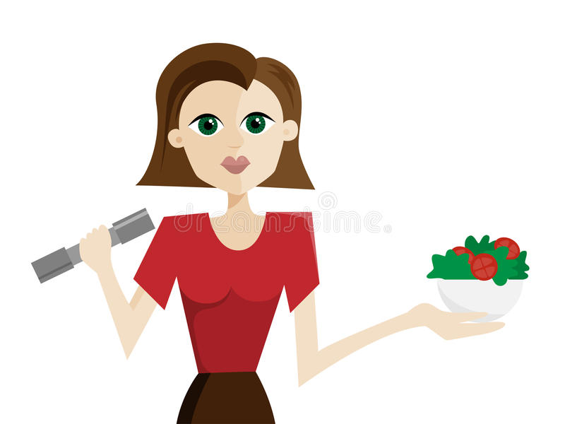 Женщина с салатом и гантелью бесплатная иллюстрация